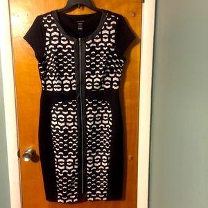 Ashley Stewart black/white midi dress